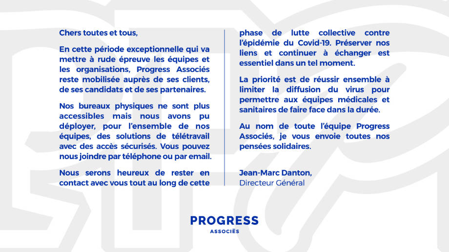 Progress Associés solidaire face au Covid-19